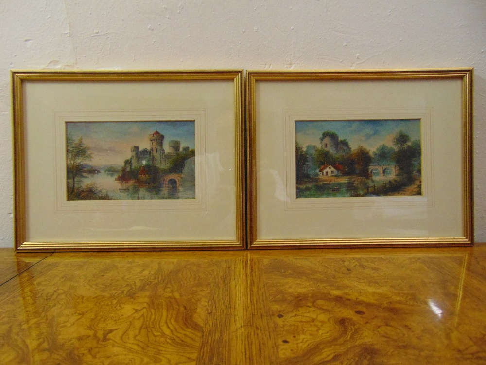 Lot 41 - A pair of framed and glazed watercolours of English landscapes, 12.5 x 21cm