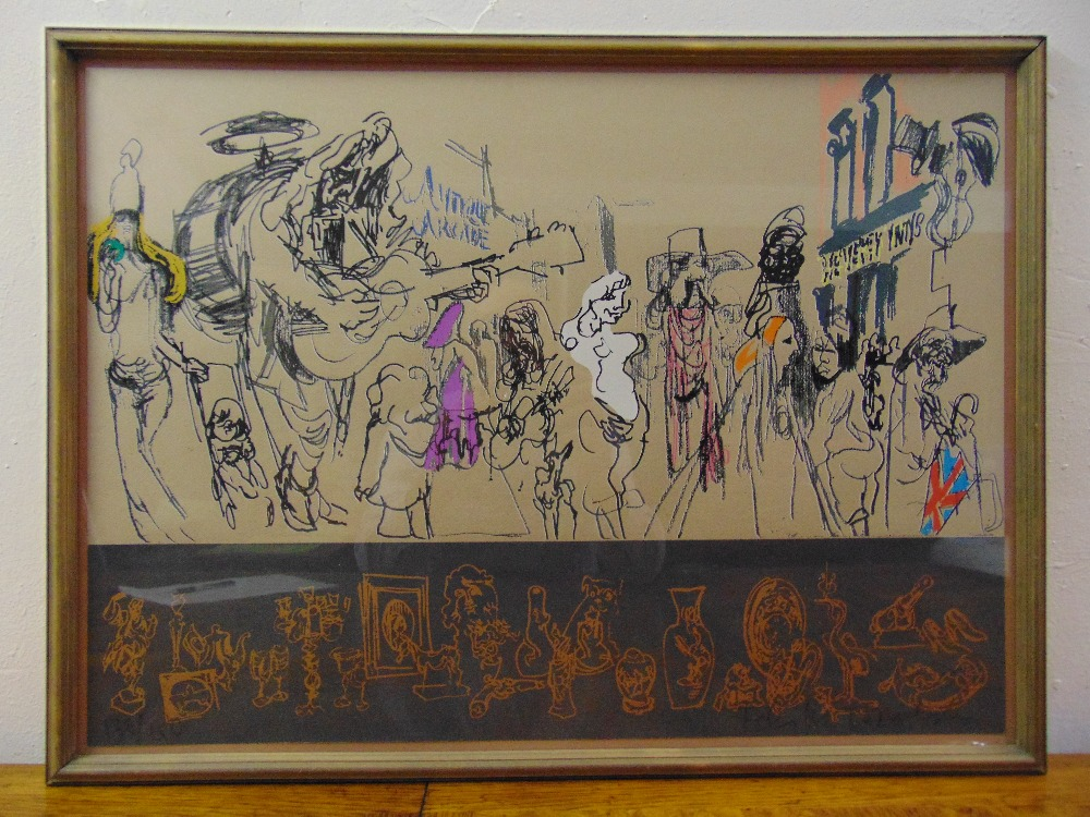 Lot 27 - Felix Topolski framed and glazed polychromatic lithographic print of various figures, 130/150 signed