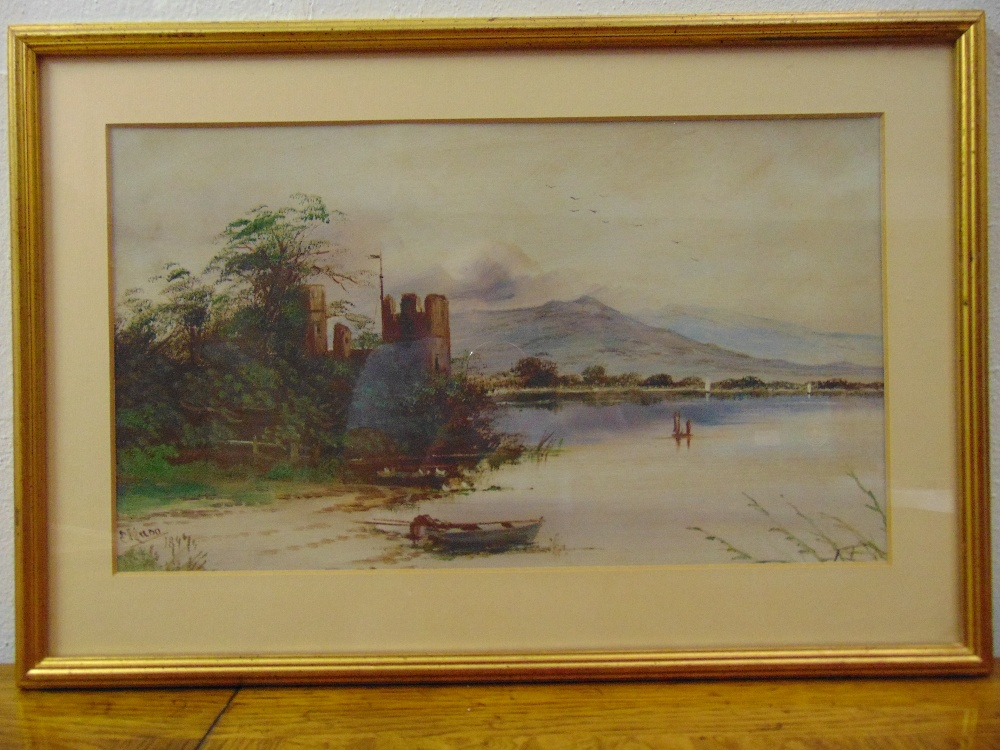 Lot 52 - E. Mann a pair of framed and glazed watercolours of Scottish loch scenes, 21.5 x 37cm