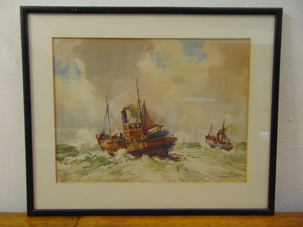 Lot 51 - Henry James Denham a pair of framed and glazed watercolours of marine scenes, 29 x 39cm and 27 x