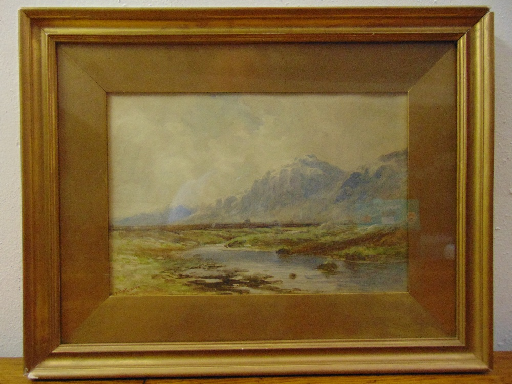 Lot 48 - Finlay McKinnon framed and glazed watercolour of a Highland scene, signed bottom left, 23 x 34cm