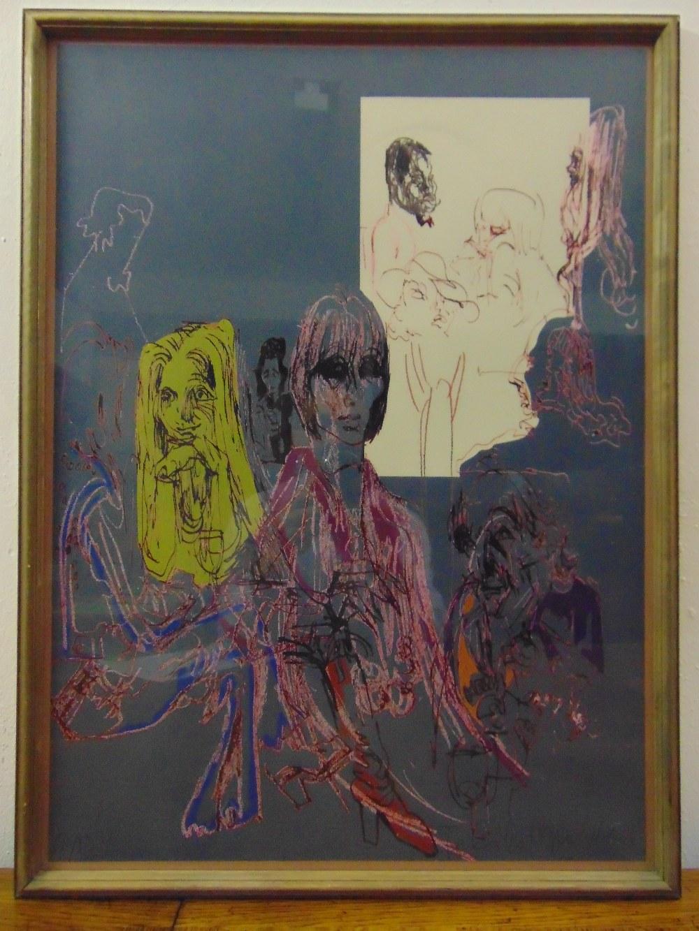 Lot 28 - Felix Topolski framed and glazed polychromatic lithographic print of figures, 80/150 signed bottom