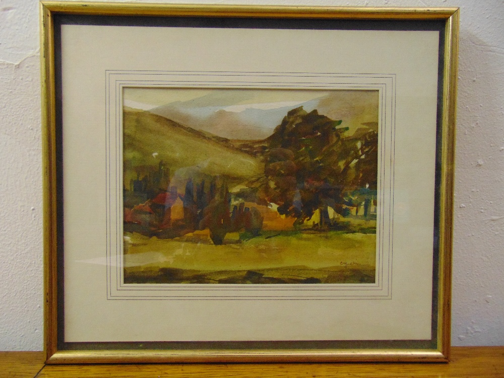 Lot 53 - C Yudkin framed and glazed watercolour of a country landscape signed bottom right, 18.5 x 24.5cm