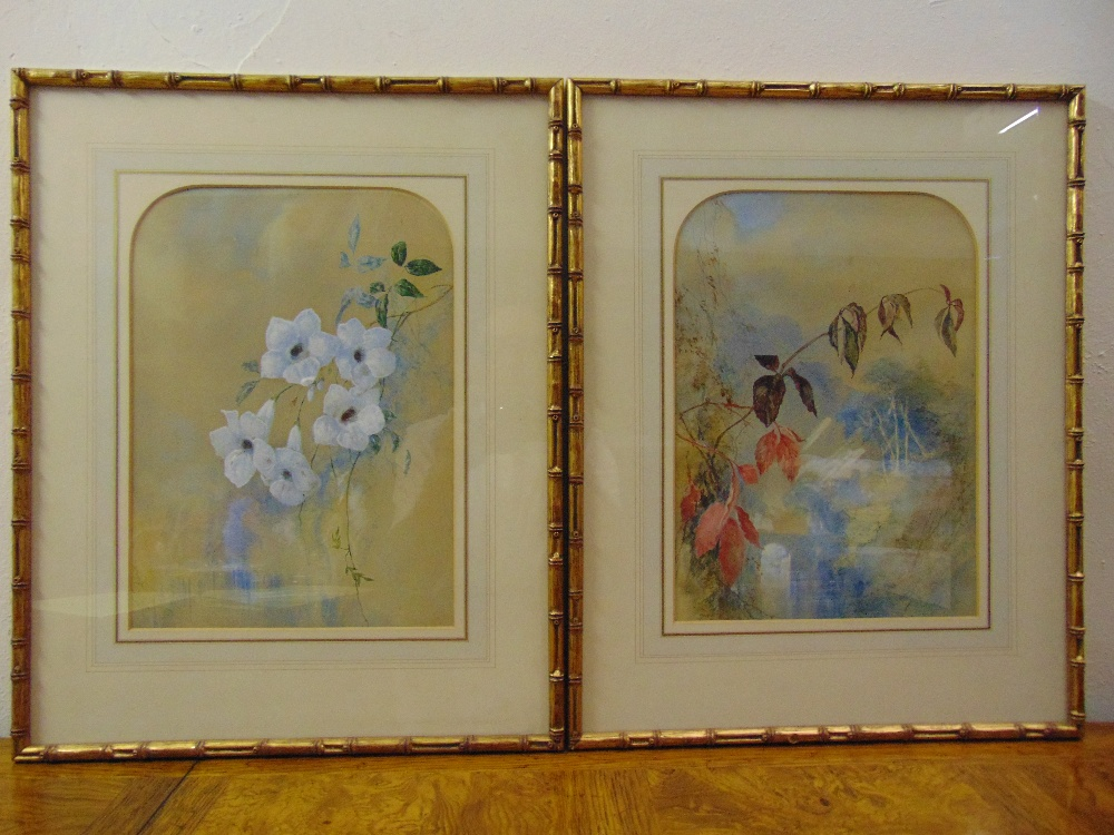 Lot 35 - A pair of Chinese style framed and glazed watercolours of flowers, 33.5 x 24cm