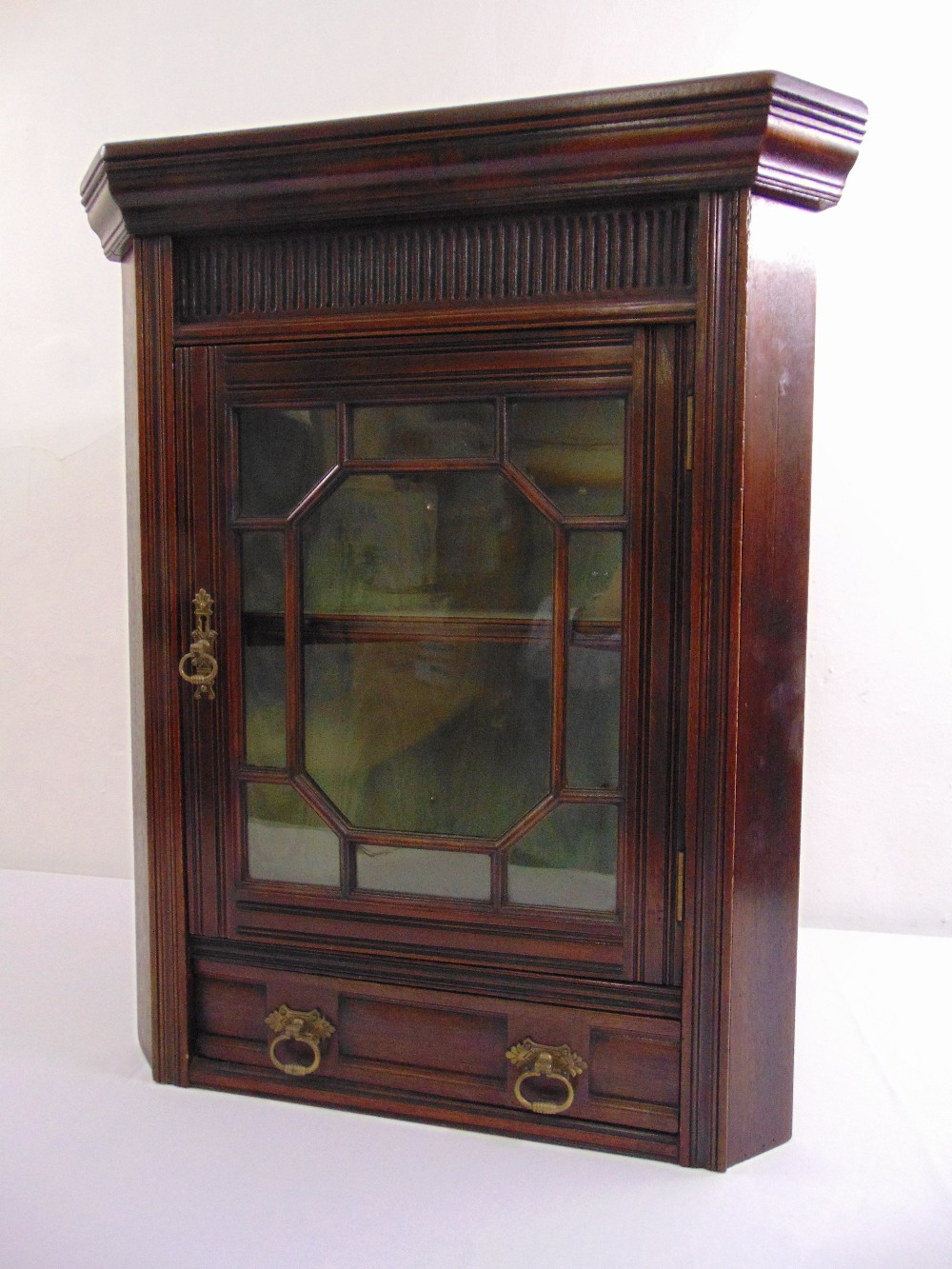 Lot 8 - An early 20th century rectangular mahogany glazed wall hanging corner cabinet