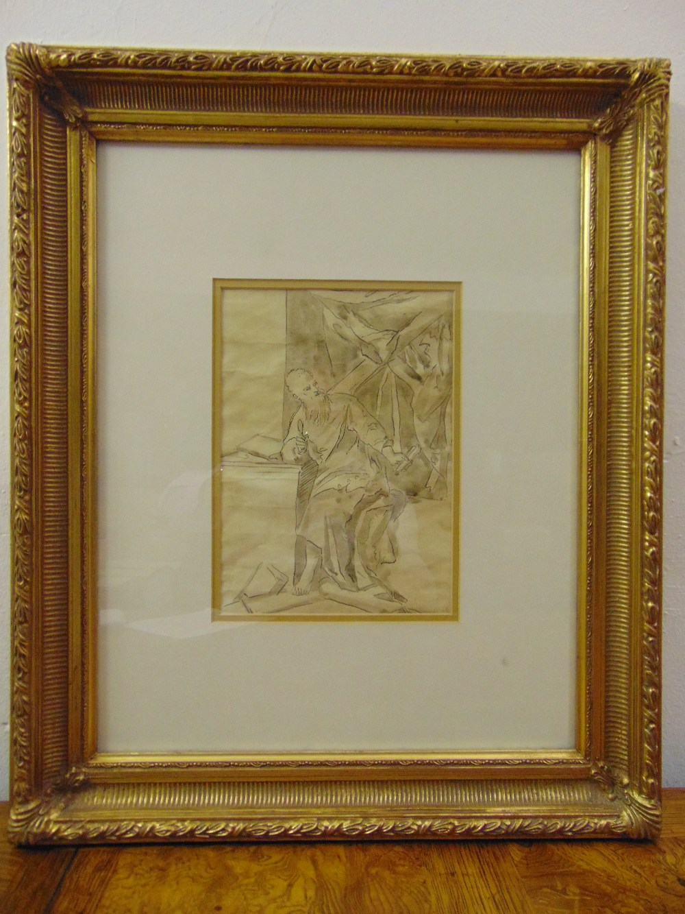 Lot 38 - A framed and glazed sepia drawing of a classical figure, 26 x 19cm