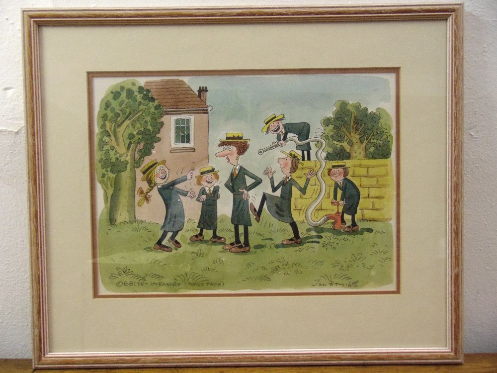 Lot 29 - Jan Brychta framed and glazed illustration for BBC Jackanory of schoolgirls up to mischief signed