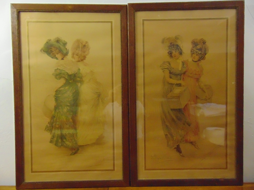 Lot 25 - Vallet-Bisson two framed and glazed polychromatic etchings of ladies in 19th century costume, 80 x