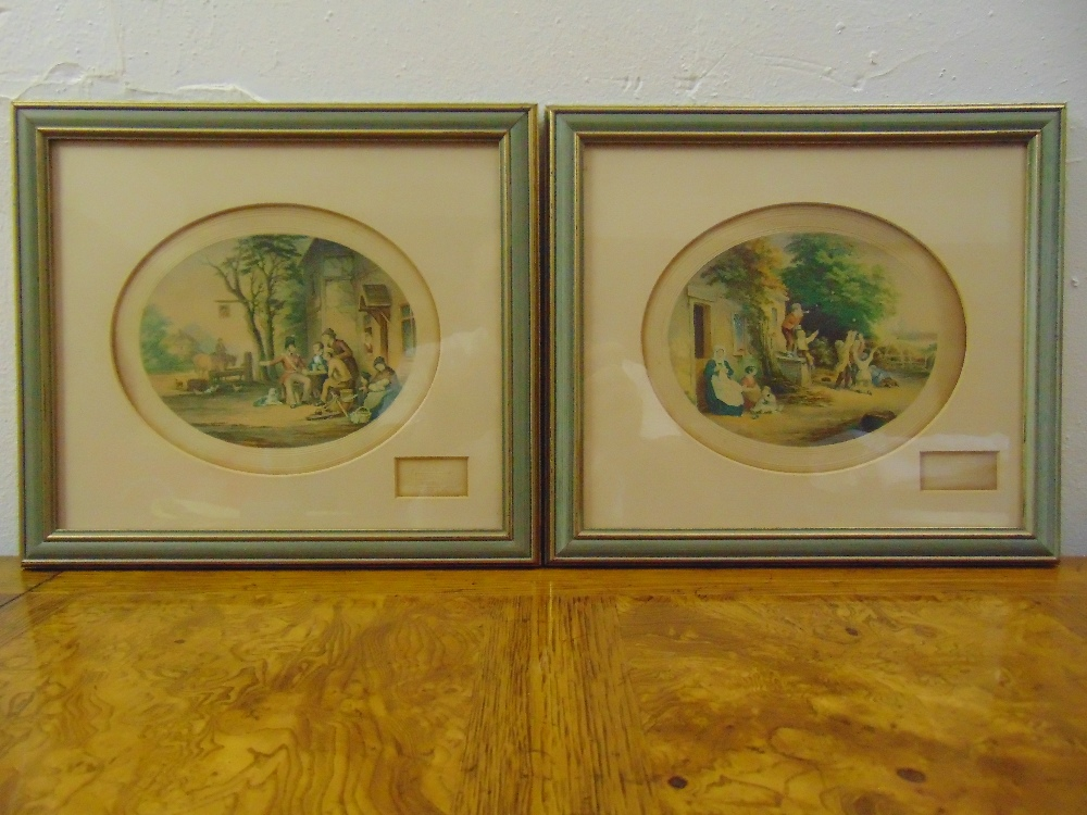Lot 33 - A pair of framed and glazed Victorian polychromatic etchings titled A Soldiers Return and Blowing