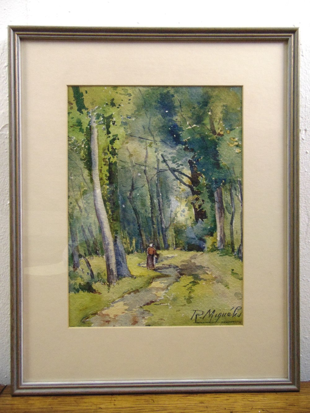 Lot 46 - R Miquels framed and glazed watercolour of a figure on a country path, 27.5 x 20cm