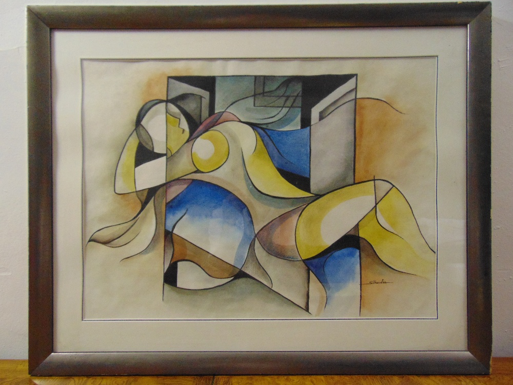 Lot 39 - Sarandra framed and glazed watercolour of a reclining lady, signed bottom right, 50 x 69cm