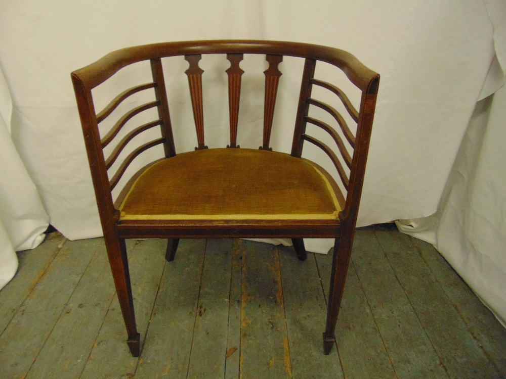 Lot 33 - An Edwardian mahogany slatted back chair on tapering rectangular legs