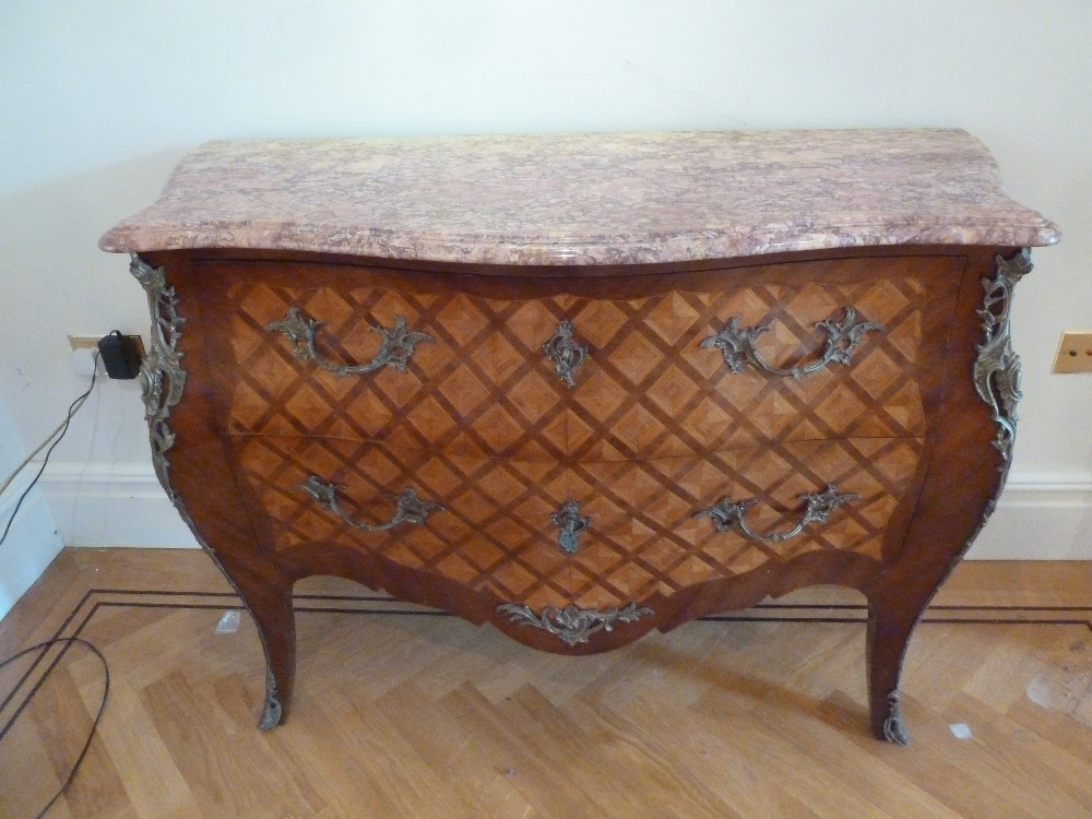 Lot 4 - A French Louis XVI style kingswood chest of drawers with detachable marble top with gilded metal