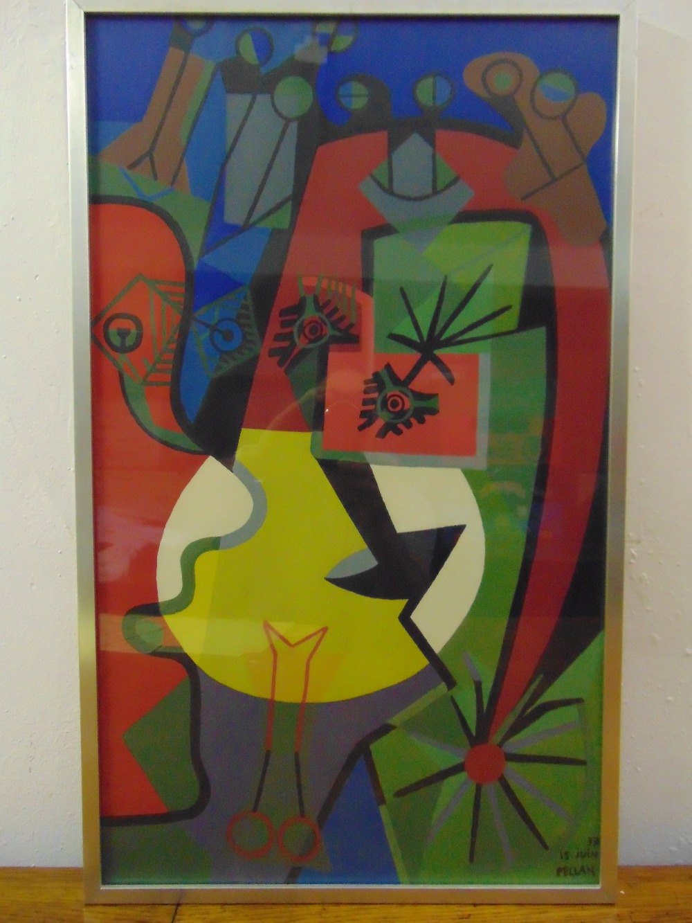 Lot 50 - Alfred Pellan 1906-1988 framed and glazed polychromatic abstract gouache on paper, 72 x 43cm
