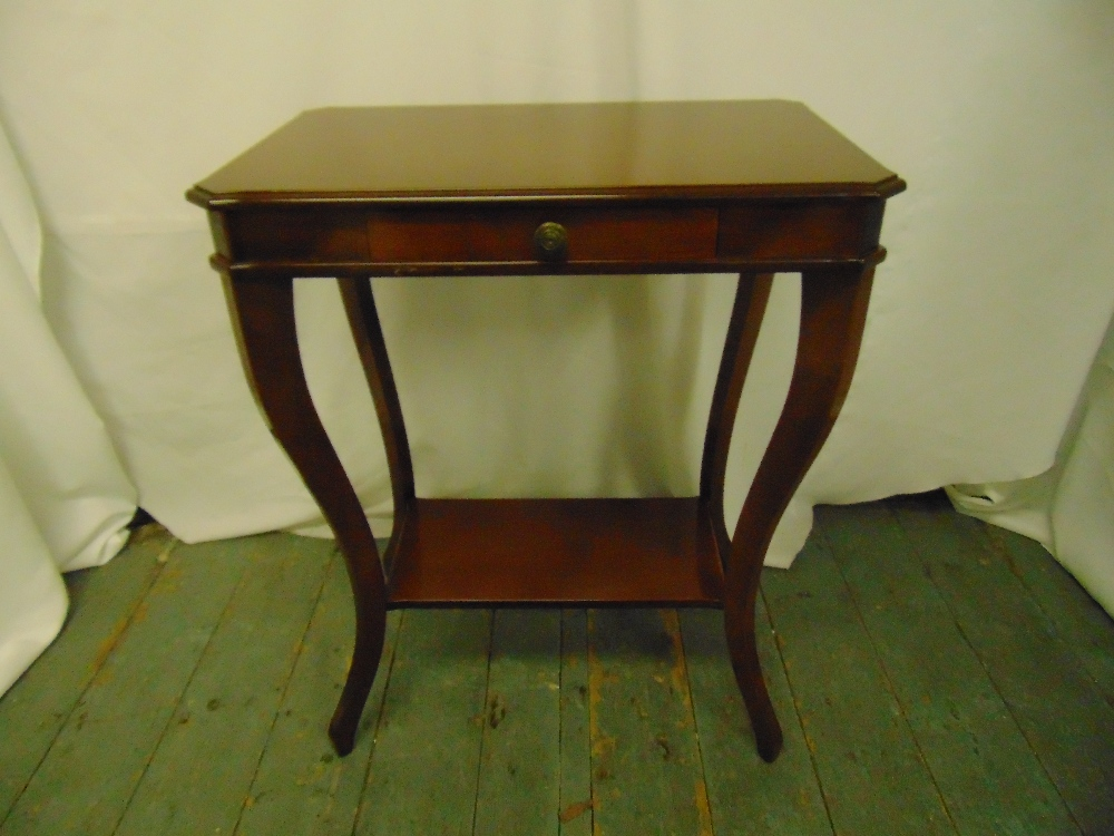 Lot 18 - A mahogany rectangular side table on cabriole legs with single drawer on four cabriole legs