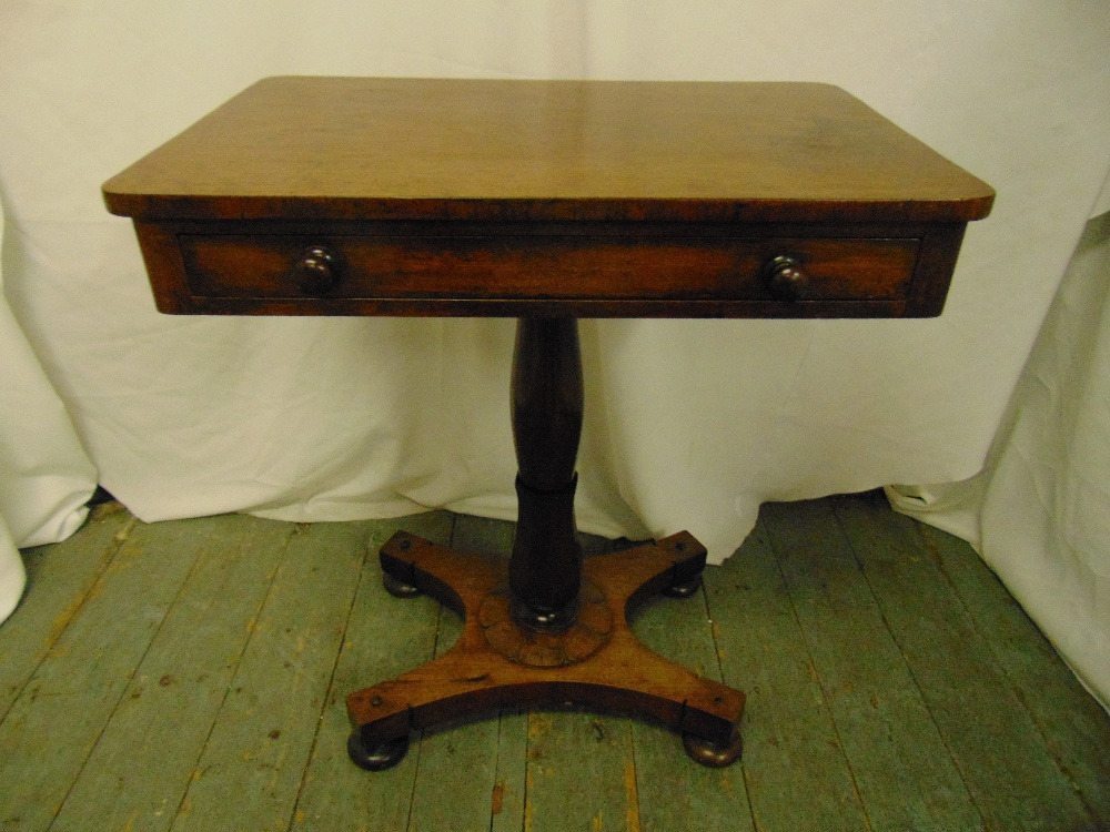 Lot 16 - A mahogany rectangular occasional table with single drawer on quatrefoil base