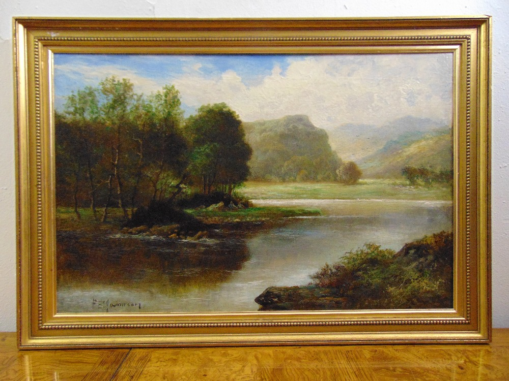 Lot 93 - F. E. Jameson framed oil on canvas of a Highland river scene, signed bottom right, gallery label