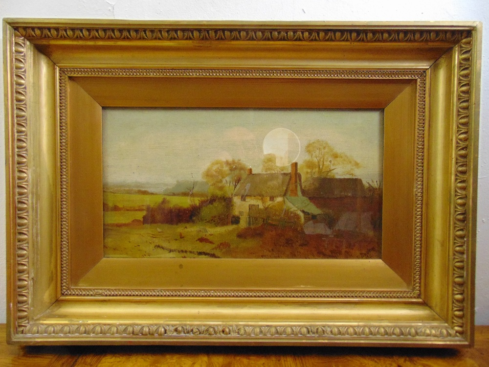 Lot 91 - R. Lindow framed and glazed oil on canvas of a country cottage, signed and dated 1911 bottom