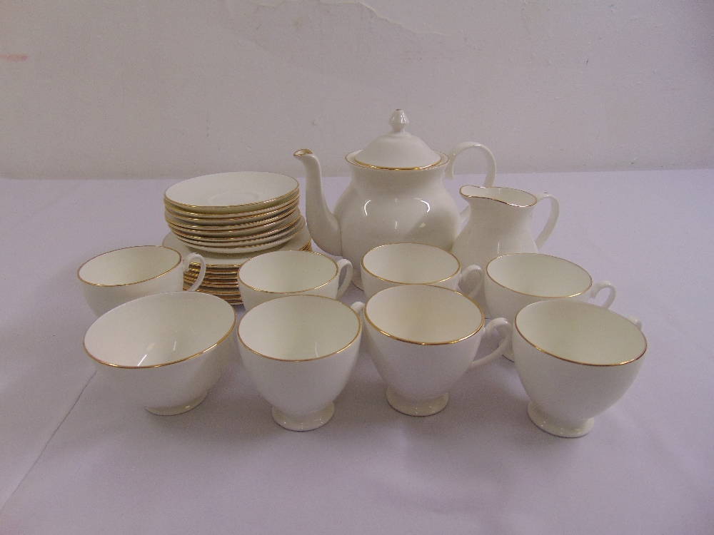 Lot 106 - Royal Grafton First Love teaset to include a teapot, a milk jug, a sugar bowl, plates, cups and