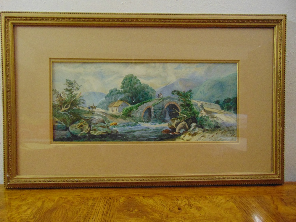 Lot 71 - Jessie Huntley two framed and glazed watercolours of country scenes, signed bottom left, 18 x 42.5cm