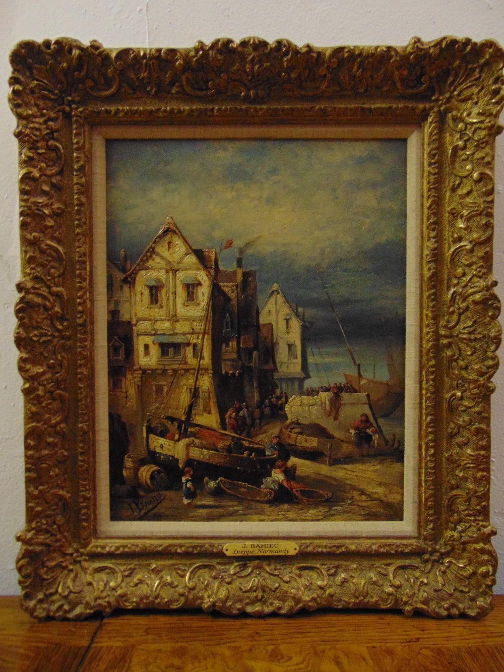 Lot 84 - Jules George Bahieu 1860-1895 framed oil on panel titled Dieppe Normandy with houses and fishing