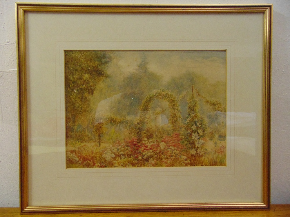 Lot 73 - A framed and glazed watercolour of an English Country Garden, 24 x 33cm