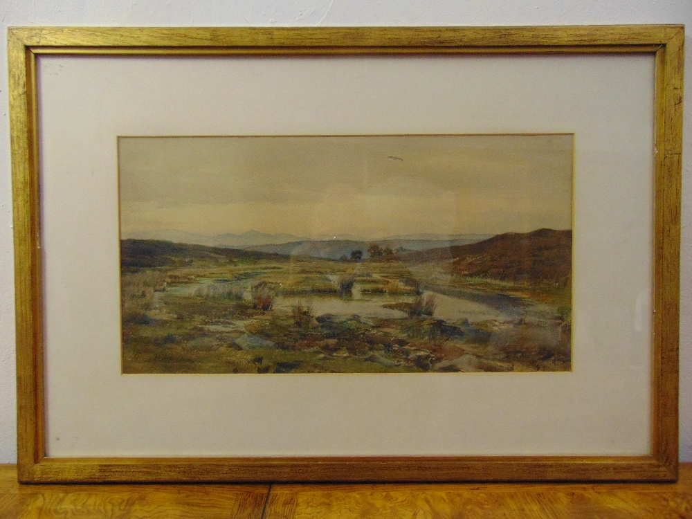 Lot 74 - A P Smith framed and glazed Victorian watercolour of a marshland scene signed bottom right, 28 x