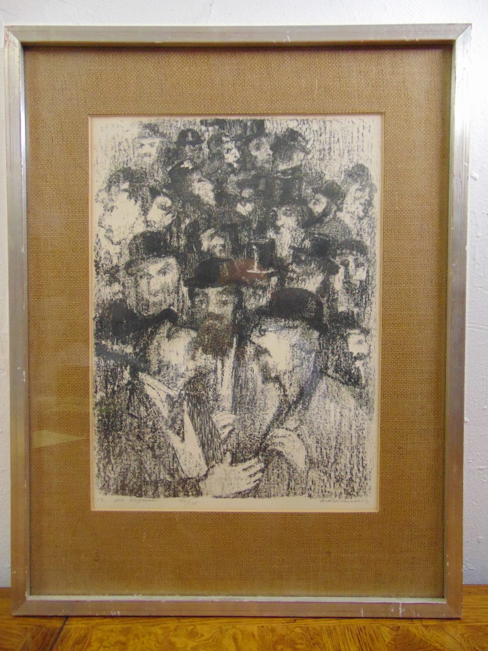 Lot 56 - Anatolij Lvovic Kaplan 1902-1980 framed and glazed monochromatic limited edition lithograph 93/