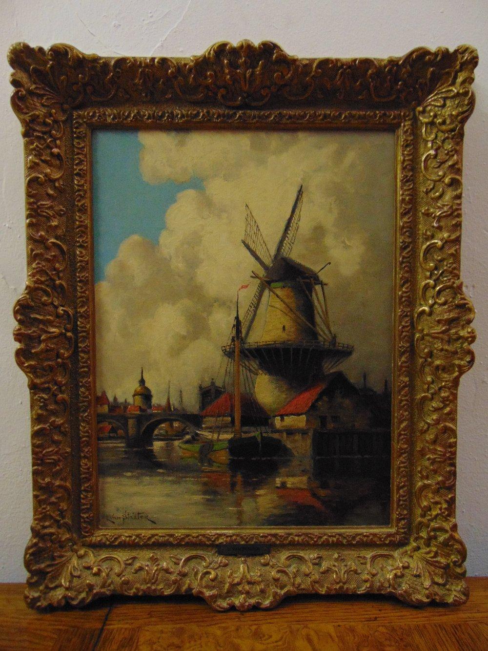 Lot 83 - Louis van Staaten (Hermanus II Koekoek) framed oil on panel of a Dutch windmill with a barge by a