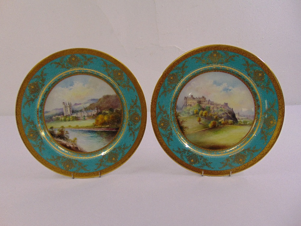 Lot 115 - A pair of Minton cabinet plates with images of Balmoral Castle and Edinburgh Castle, marks to the