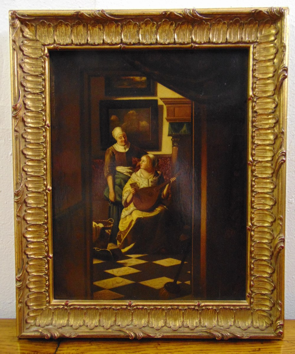 Lot 81 - A framed oil on panel of domestic figures in an interior scene in the style of Vermeer, 33.5 x 26.