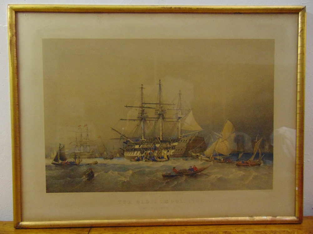 Lot 64 - A framed and glazed polychromatic aquatint of a ship titled The Old School 1755 - Eight Months to