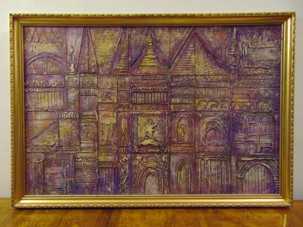 Lot 99 - Jack Ray framed acrylic abstract of architectural facades, signed bottom right, 60 x 90cm
