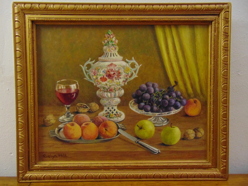 Lot 97 - Evelyn Hill framed oil on panel still life with fruit and a glass of wine, signed bottom left, 35
