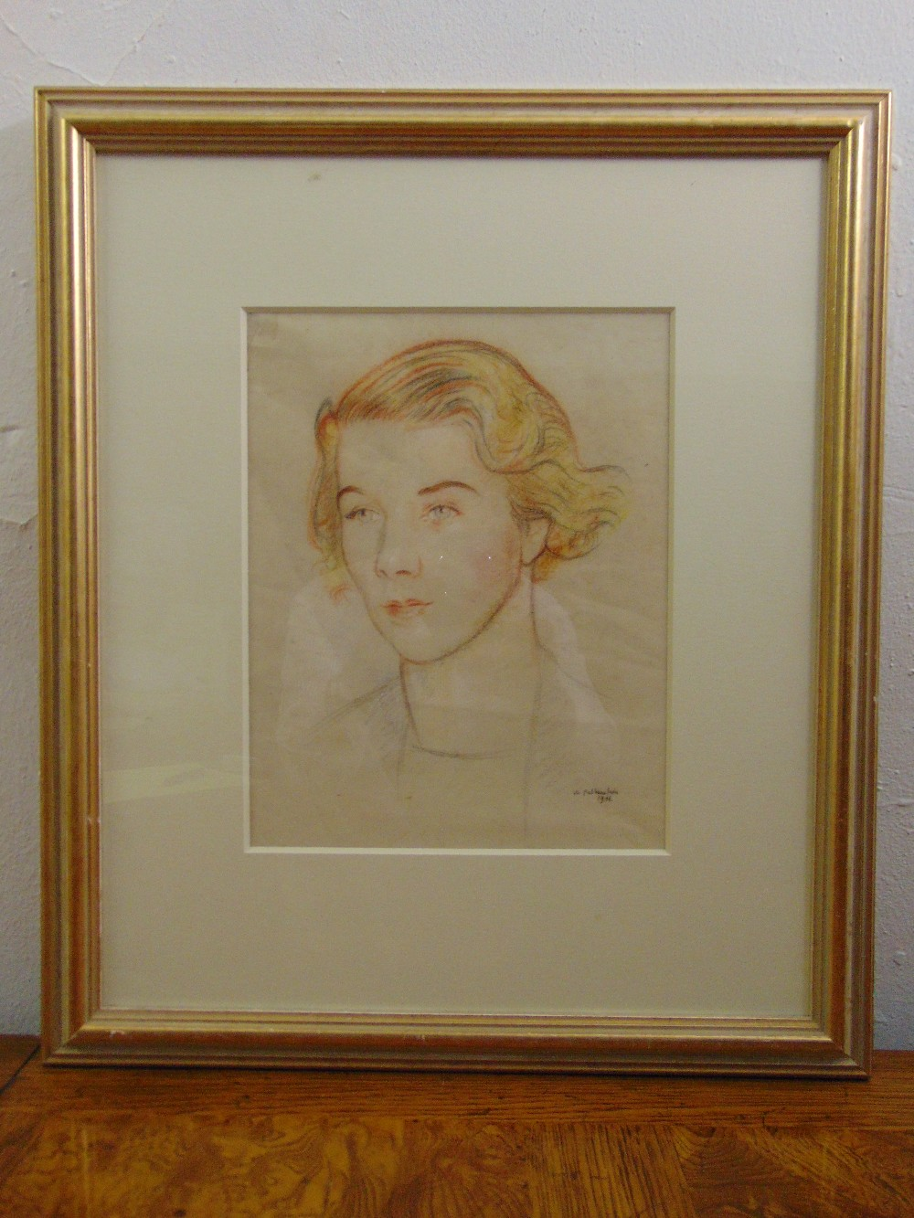 Lot 69 - William Rothenstein framed and glazed coloured chalk study of a female, signed bottom right, 28 x