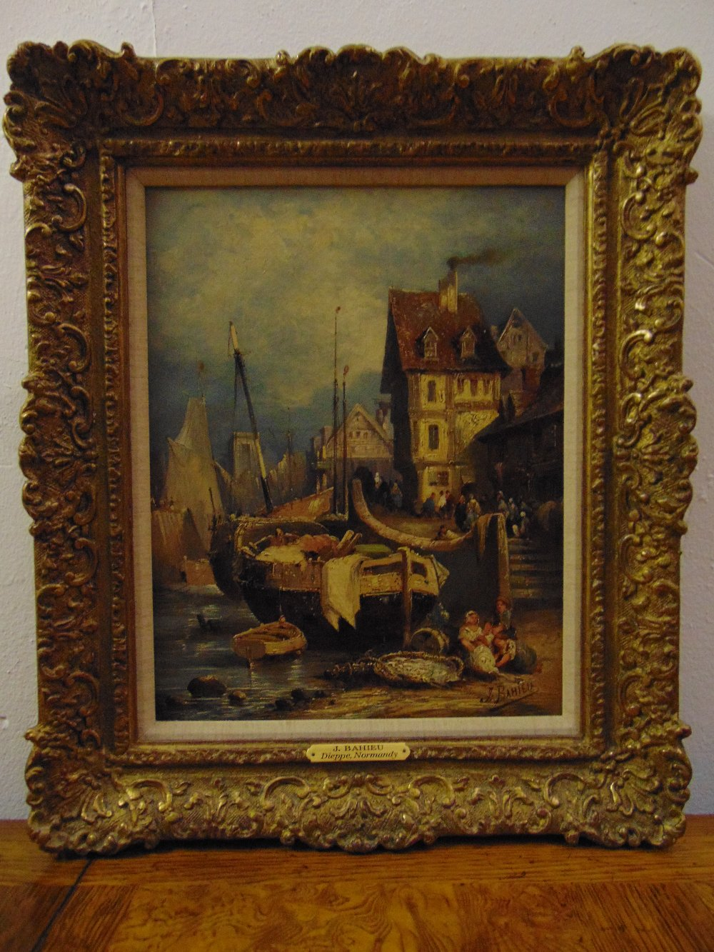 Lot 85 - Jules George Bahieu 1860-1895 framed oil on canvas titled Dieppe Normandy with fishing boats in