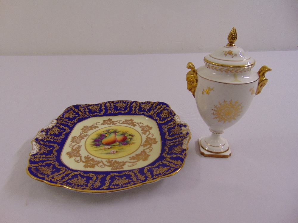 Lot 112 - A Coalport neo-classical covered vase with gilded side handles and a Paragon cake plate