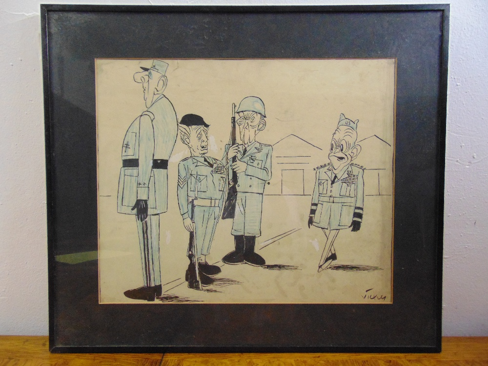 Lot 66 - Vicky framed and glazed political cartoon, signed bottom right, 39 x 47cm
