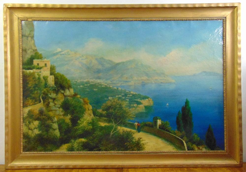 Lot 90 - A framed oil on canvas of Sorrento Italian coastline, indistinctly signed bottom left, 74 x 118cm