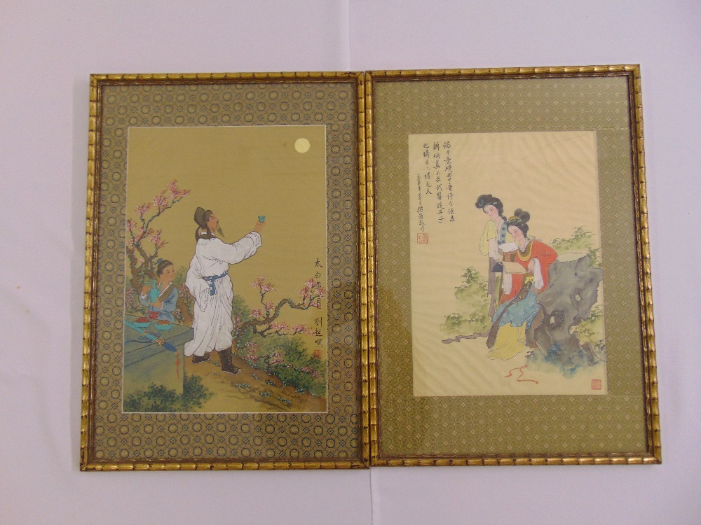 Lot 79 - A pair of framed and glazed Chinese watercolours on silk of figures in a landscape, 37 x 26cm and 34