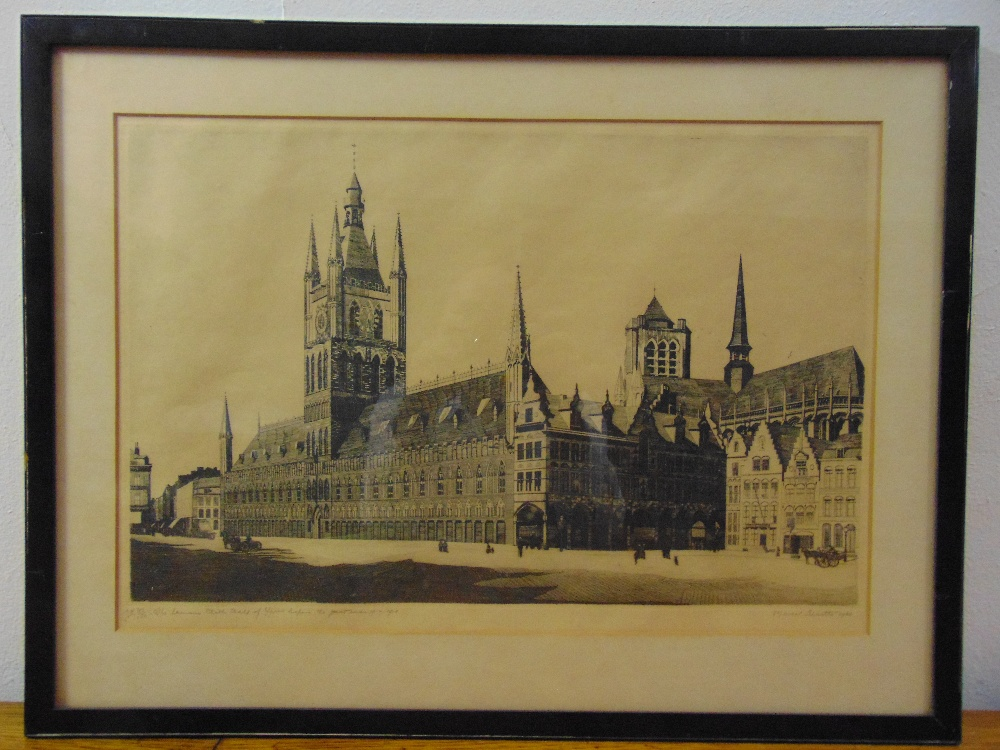 Lot 58 - Marcel Schuette framed and glazed limited edition etching of The Famous Clock Tower of Ypres