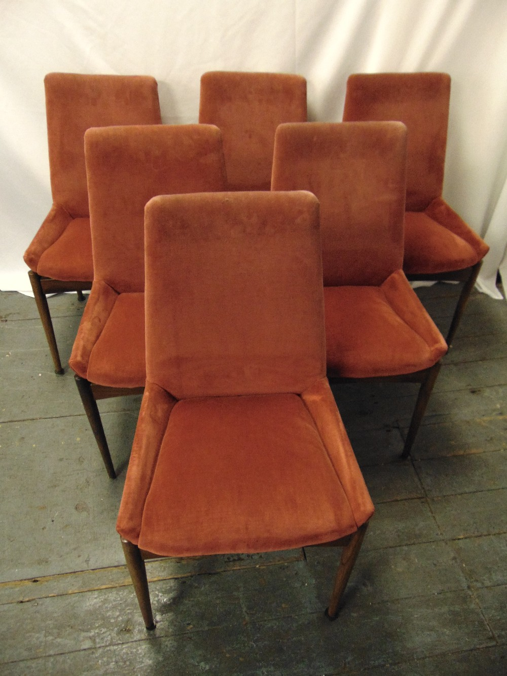 Lot 24 - Robert Heritage for Archie Shine six rosewood upholstered dining chairs, A/F, CITES certificate