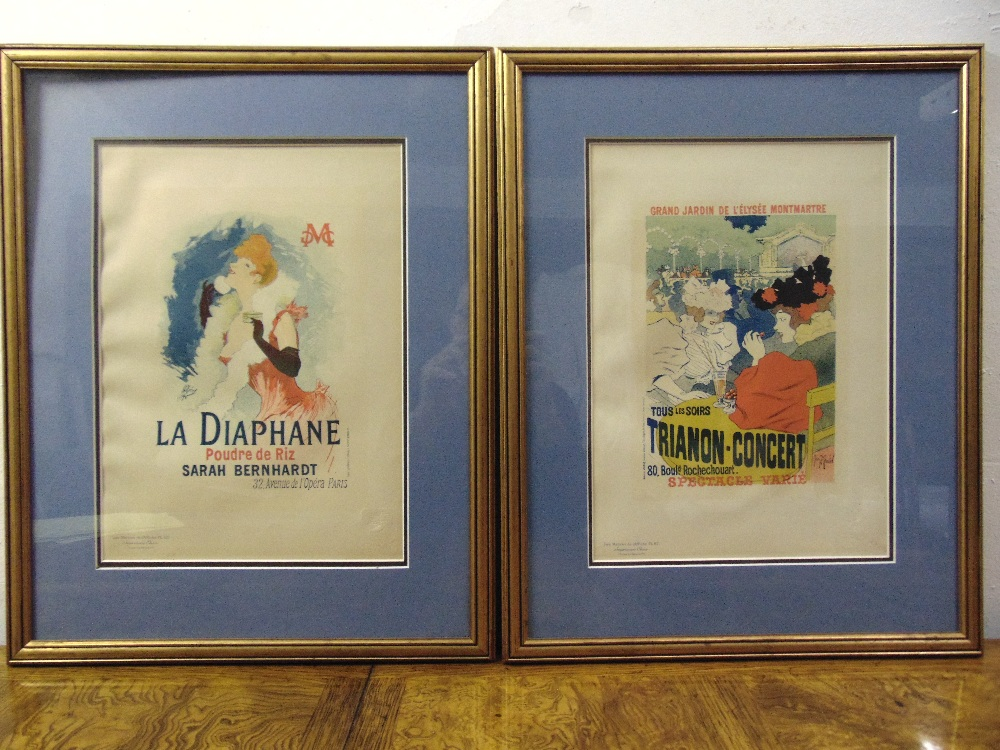 Lot 65 - A pair of framed and glazed 19th century French posters titled plate 61 Tous Les Soirs Trianon-