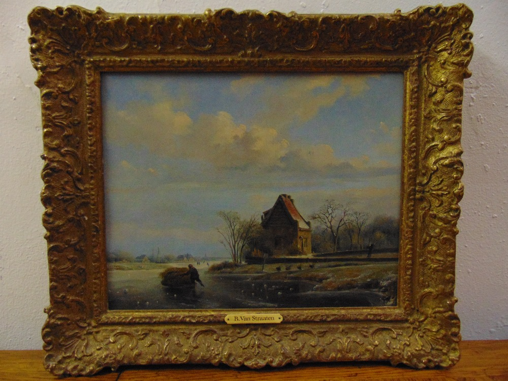 Lot 82 - Bruno I van Straaten 1786-1870 framed oil on canvas of a Dutch winter scene with a figure pushing