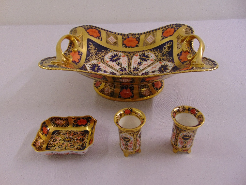 Lot 114 - A quantity of Royal Crown Derby Imari pattern to include a rectangular fruit bowl, two toothpick