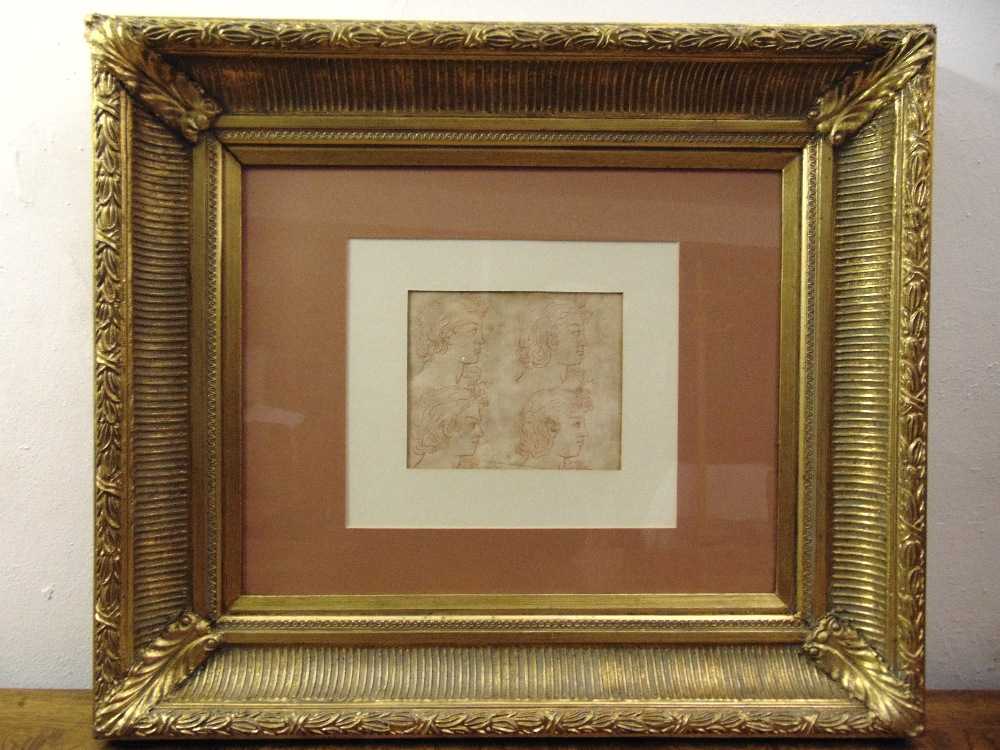 Lot 76 - A framed and glazed old master drawing of four male profiles, 16.5 x 20cm