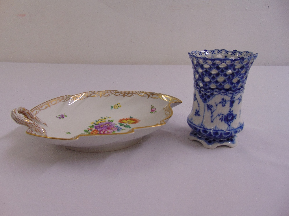 Lot 119 - Royal Copenhagen blue and white vase and a Dresden leaf shaped dish decorated with sprays of