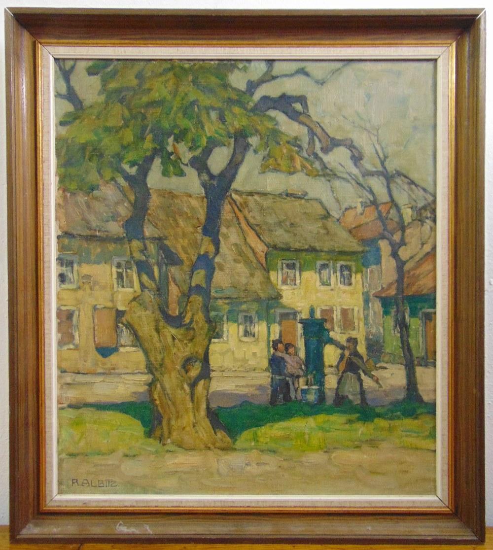 Lot 86 - Richard Albitz 1876-1956 framed oil on canvas titled Das Gelbe Haus, signed bottom left, 55.5 x 48.