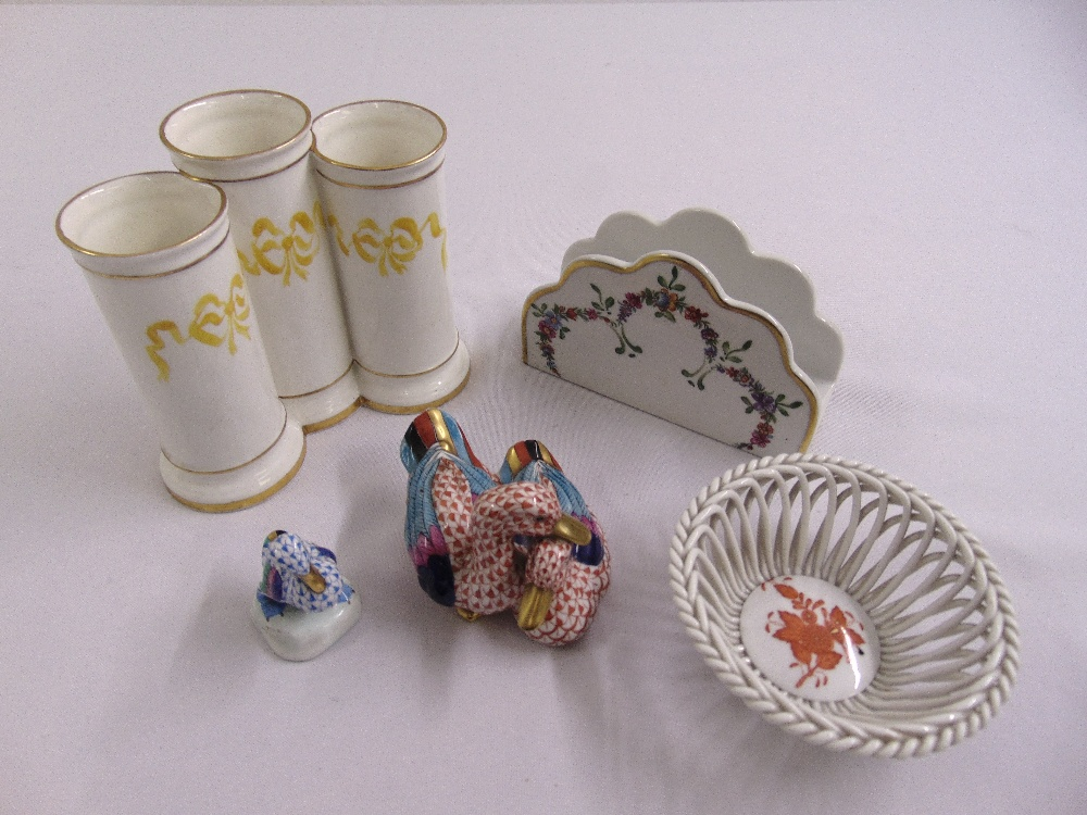 Lot 117 - A quantity of Herend and Limoges to include figurines, a lattice work dish, a triple cylindrical