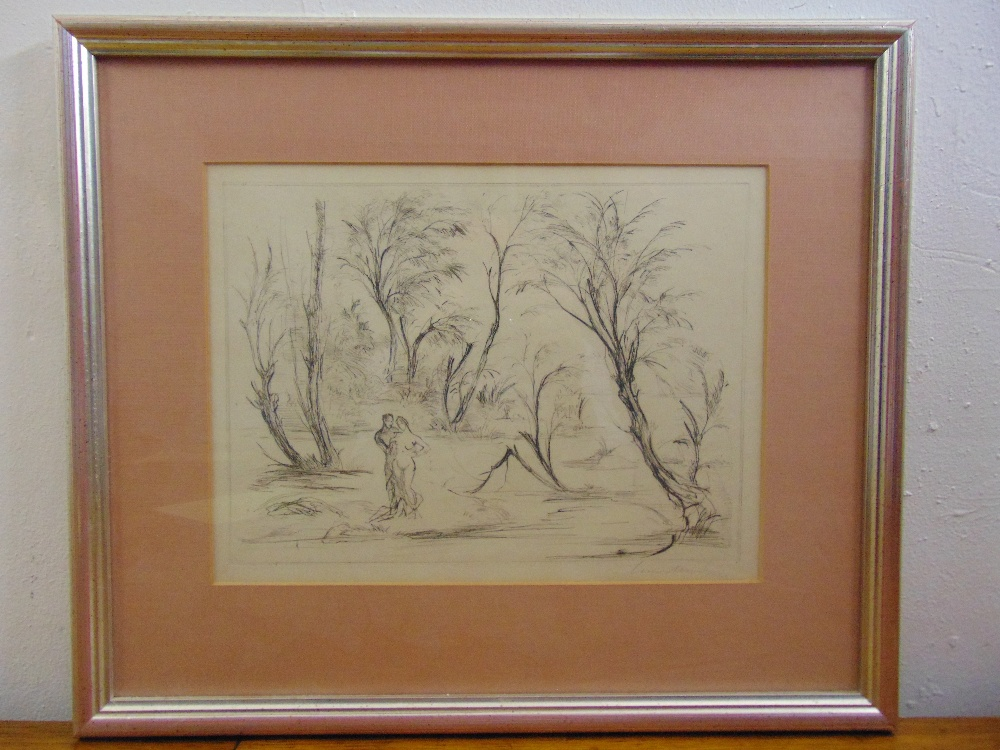 Lot 68 - A framed and glazed monochromatic pen and ink study of two figures in a garden, indistinctly